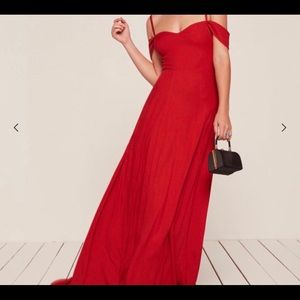 Reformation off the shoulder gown